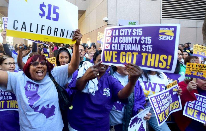 Workers LA California minimum wage bill 2016