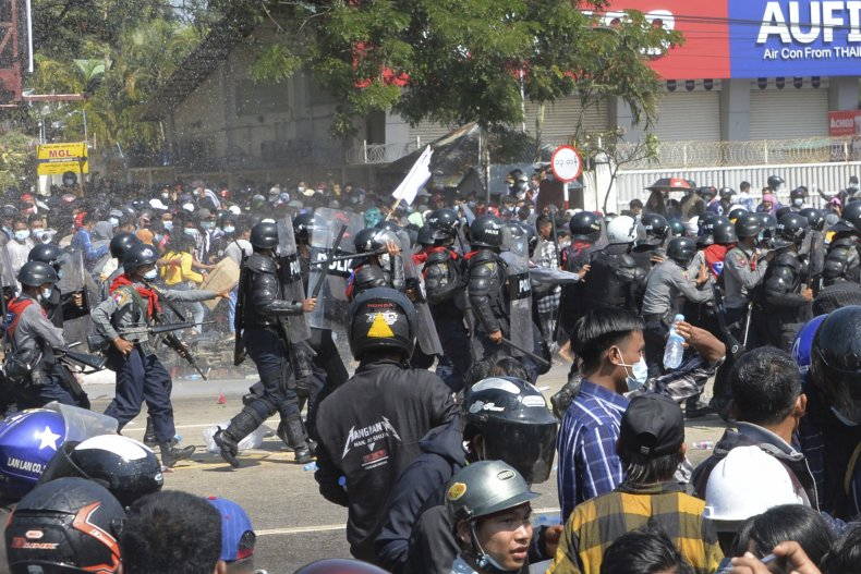 Myanmar police coup protest
