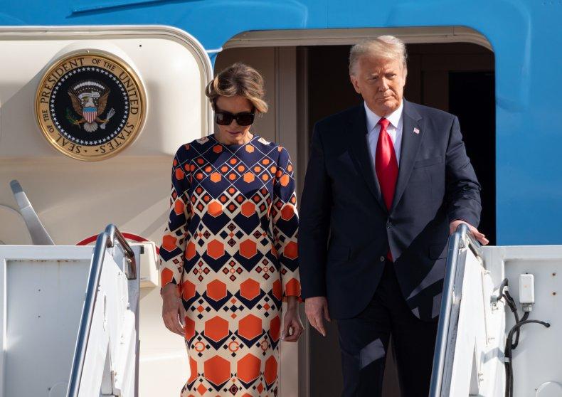 Donald Melania Trump Disembark Air Force One