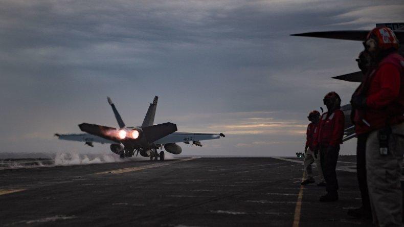 U.S. Navy Warplane Conducts Aircraft Carrier Drill