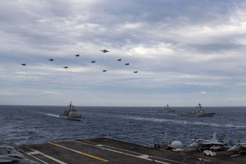 U.S. Navy Aircraft Conduct Dual Carrier Drills