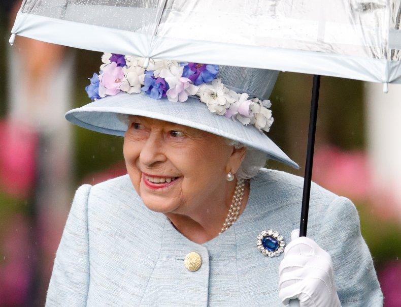 Queen Elizabeth II Under Umbrella at Ascot