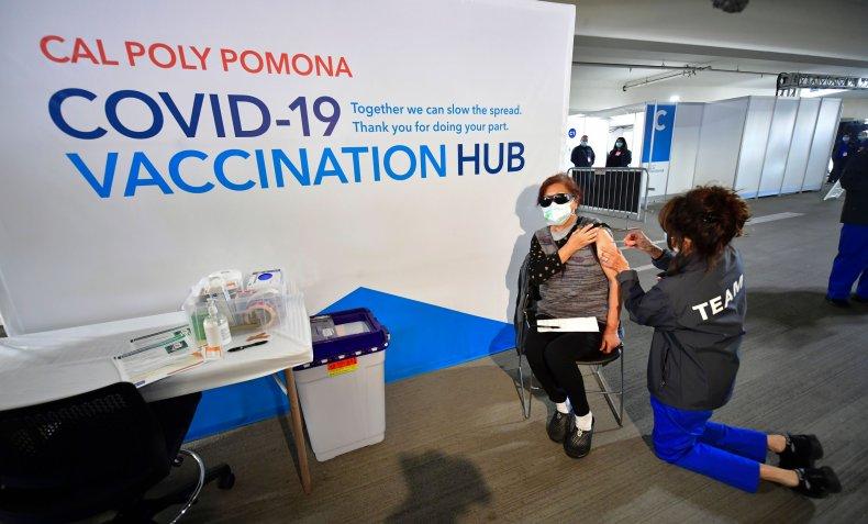 COVID-19 vaccination center California February 2021