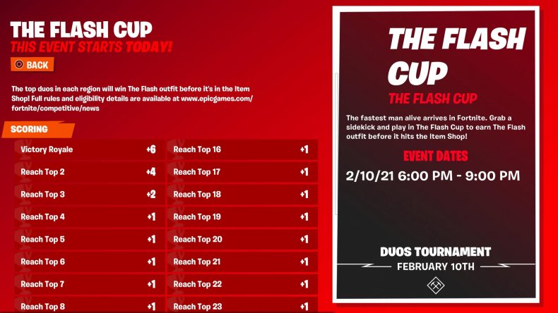 fortnite flash cup start time format