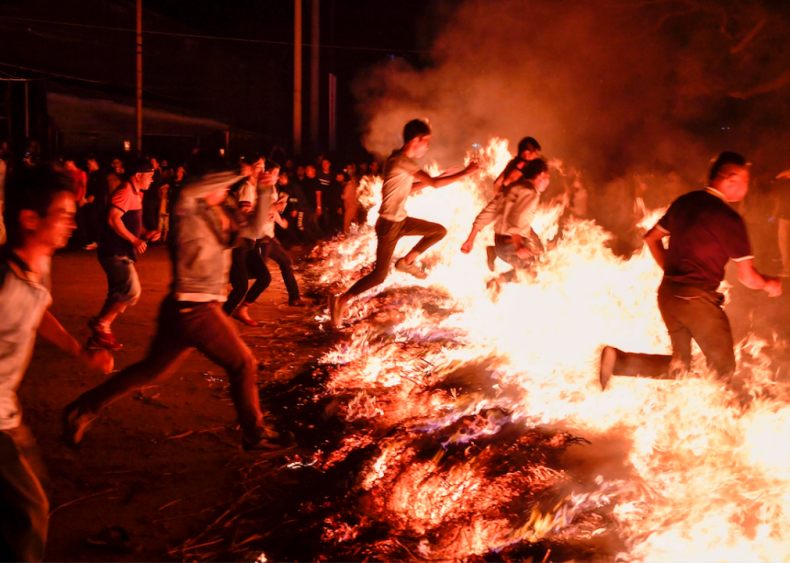 Jumping over the bonfire