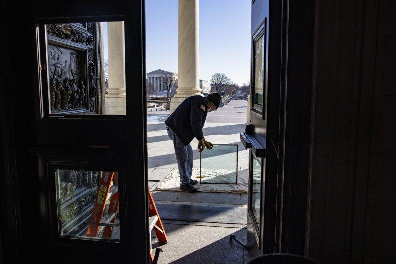 Rotunda glass doors damaged in riots