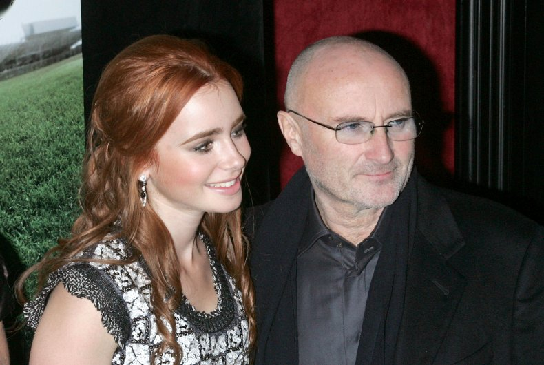 Lily Collins and musician Phil Collins