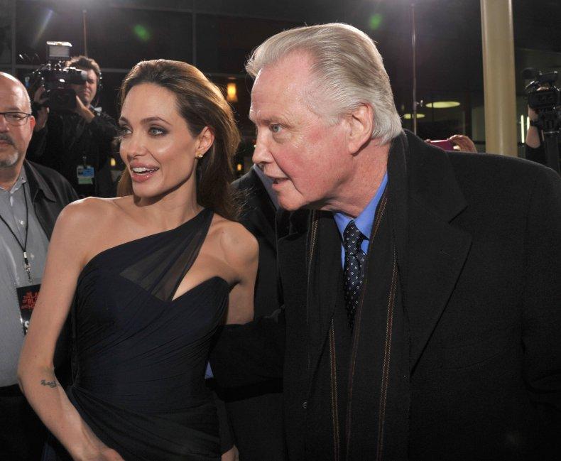 Angelina Jolie (L) and actor Jon Voight