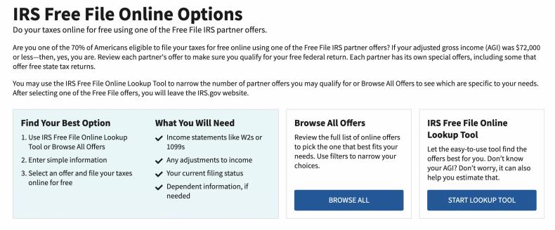 IRS free filing