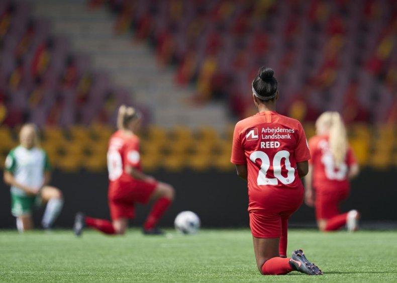Soccer players kneel in solidarity in Denmark