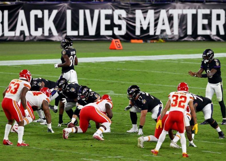 Black Lives Matter sign at Baltimore's M&T Bank Stadium