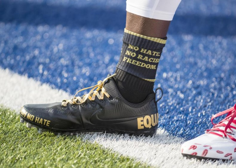 Shoes, clothing bears anti-racism messaging