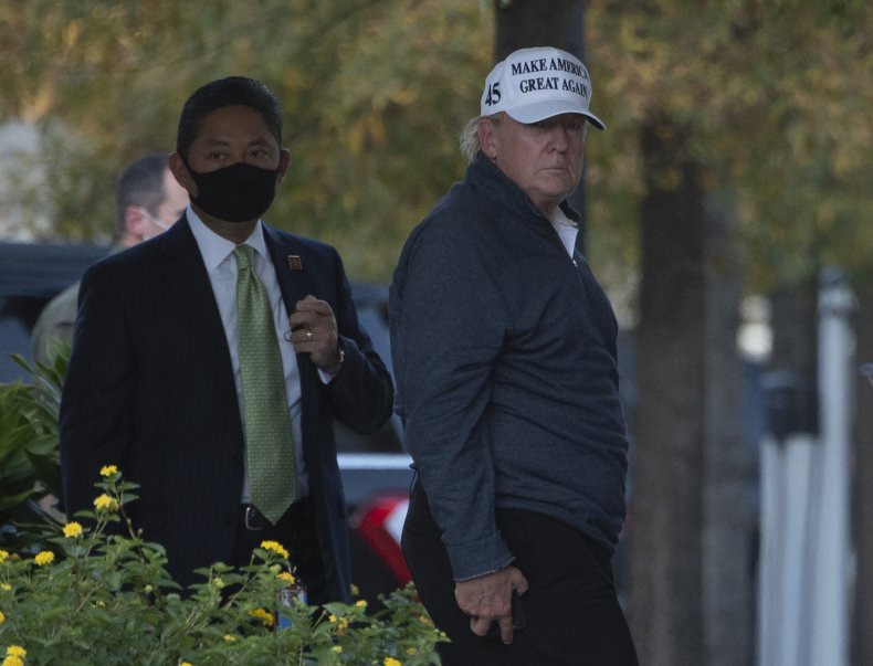 Donald Trump returns from the golf course
