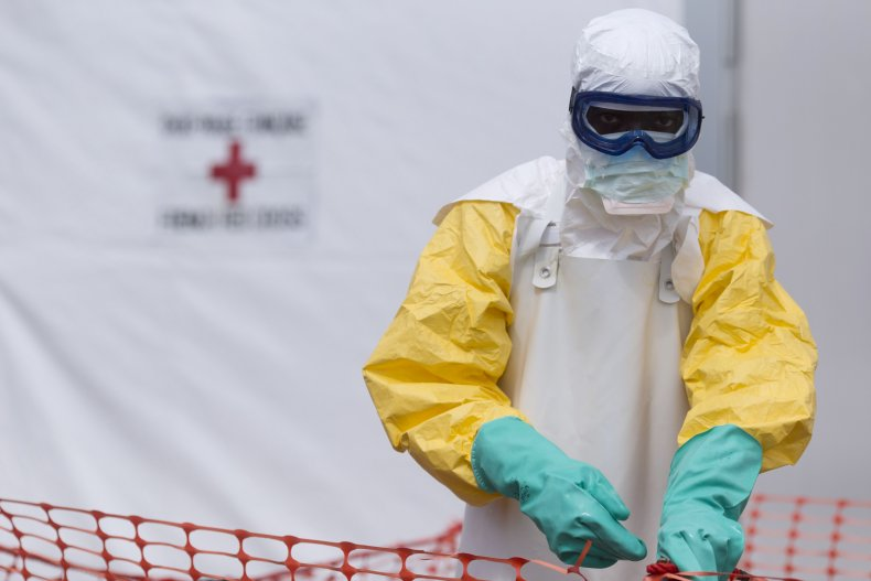 Health worker at Ebola center in Guinea
