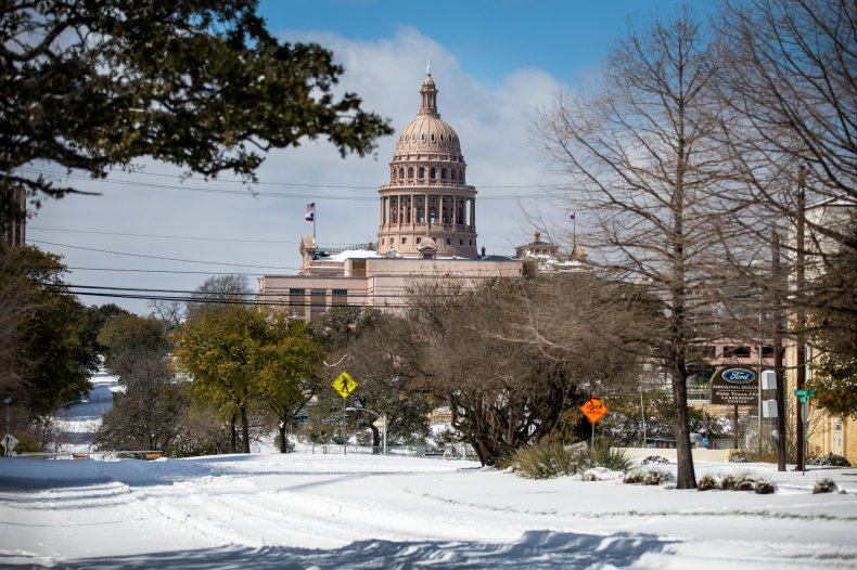 Texas Capitol surrounded by snow