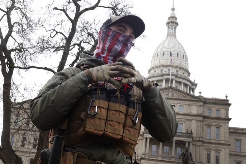 Right-wing protester at Lansing Capitol Michigan GOP