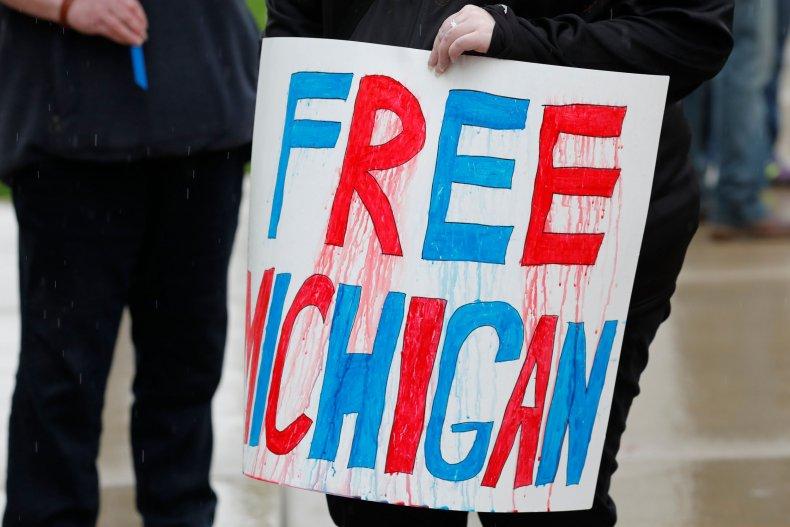 Free Michigan sign during coronavirus protest