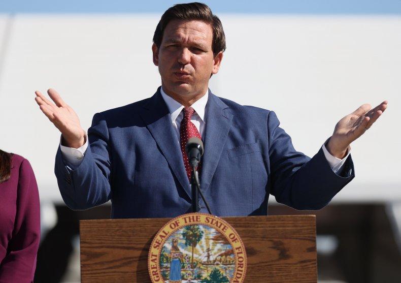 Florida Governor Ron DeSantis speaks during a