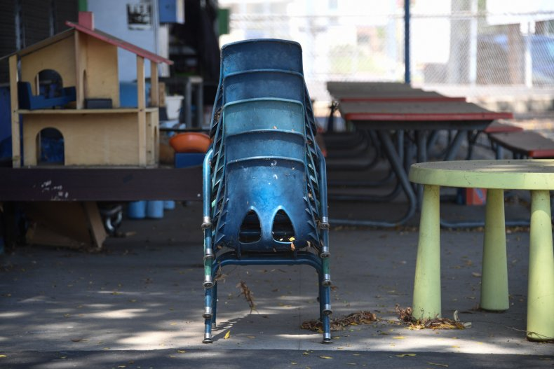 Chairs are stacked at a public elementary