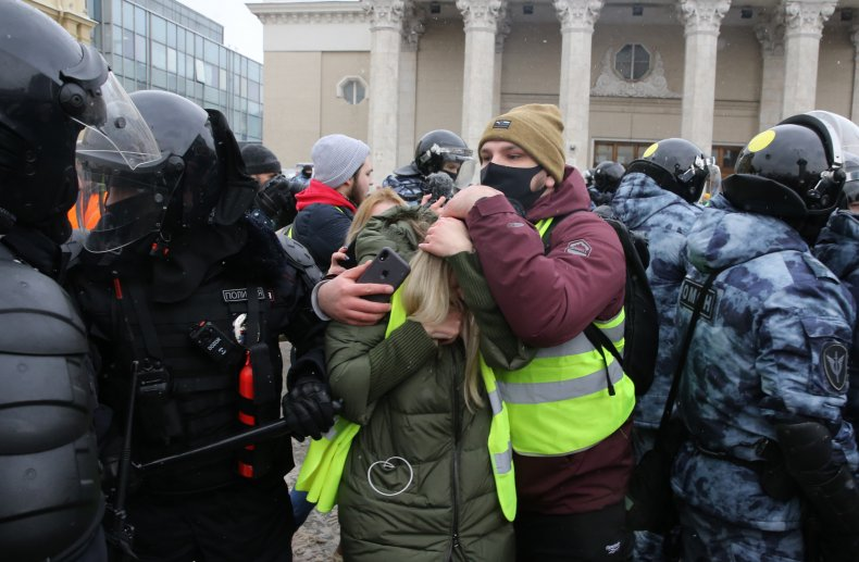 Protesters against Alexei Navalny's jailing