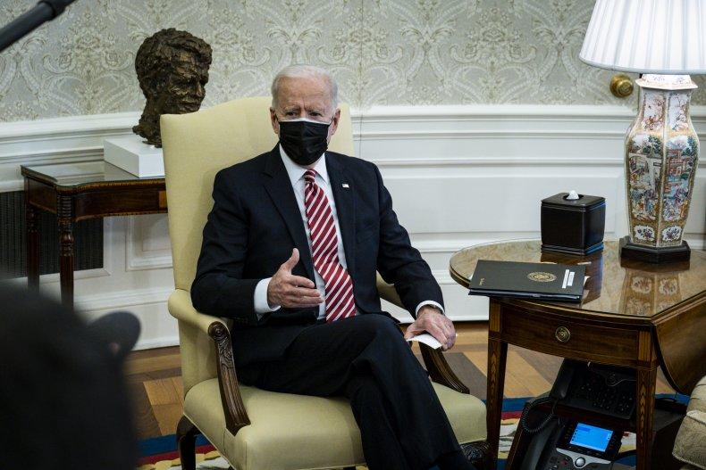 Joe Biden is pictured in the Oval