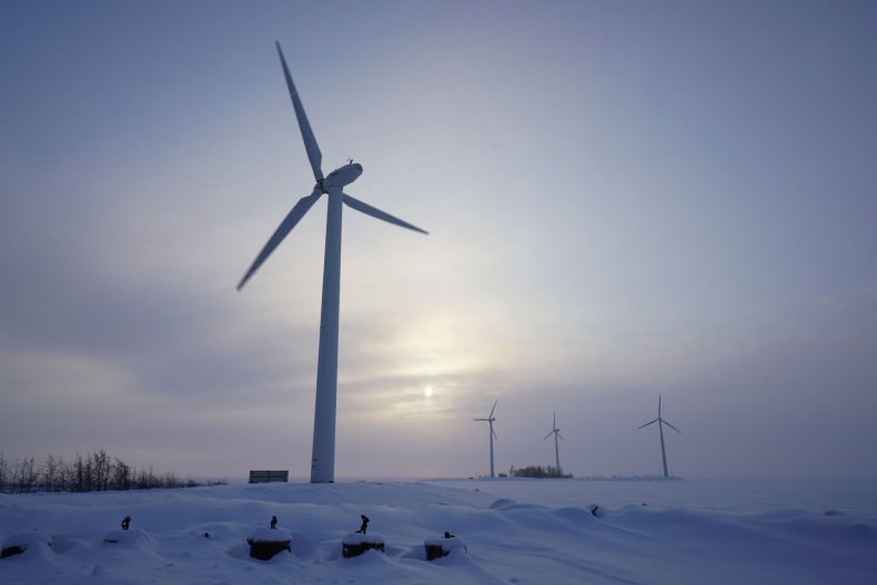 Wind turbine in snowy conditions