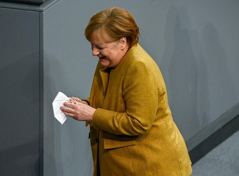 Angela Merkel face mask Bundestag