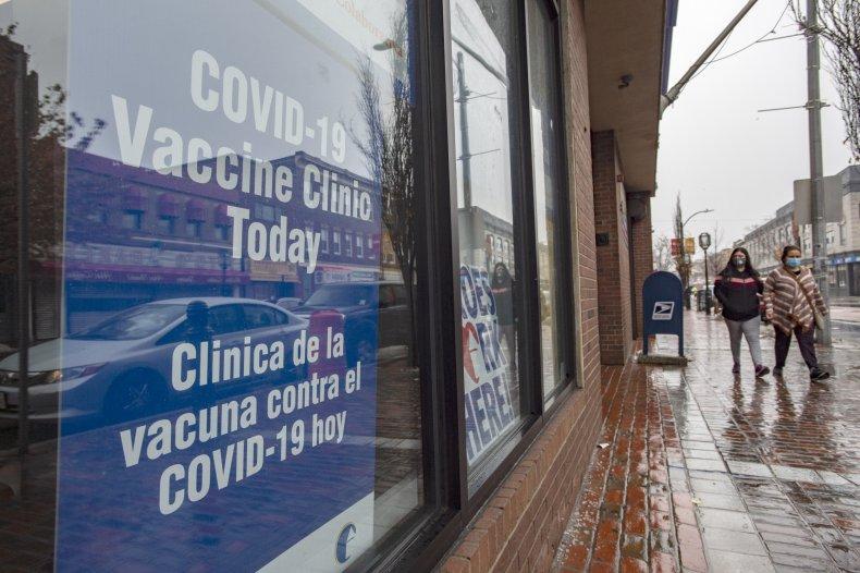 COVID-19 vaccine clinic Chelsea, Massachusetts February 2021
