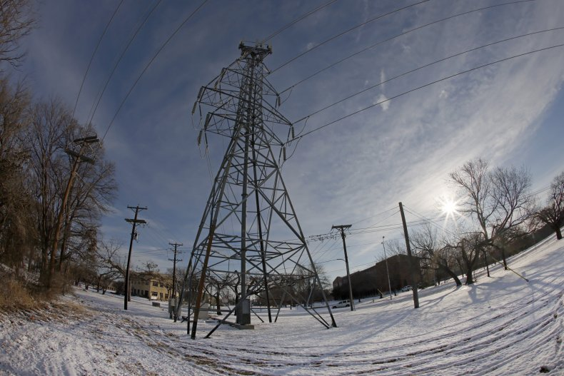 : A transmission tower supports power lines
