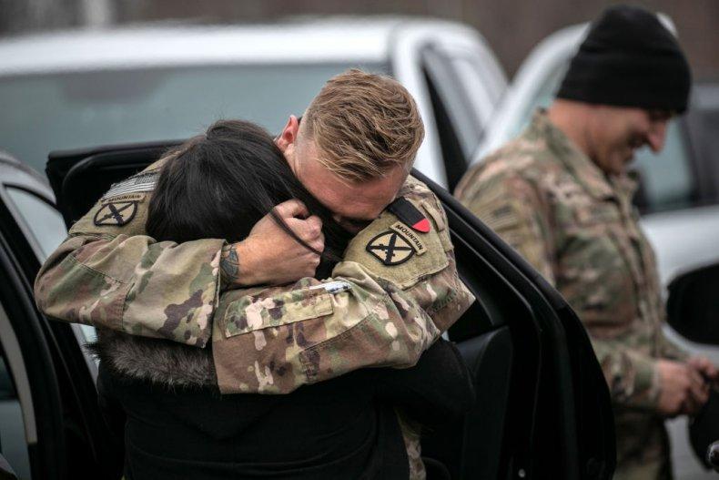 U.S. Troop Embraces Family