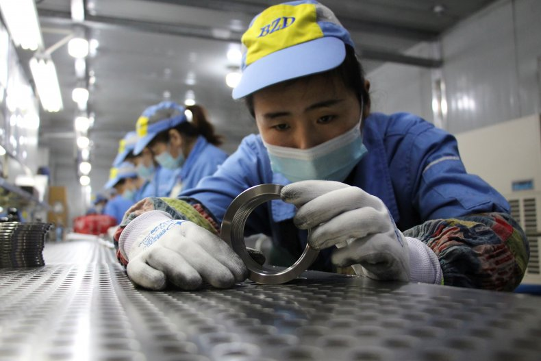 Workers at factory in China