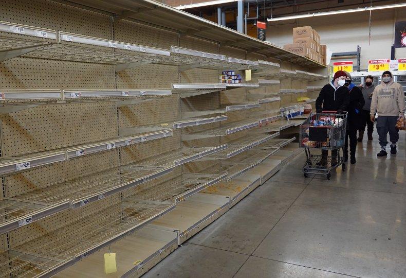 Austin Texas Shoppers empty Supermarket Shelves