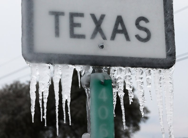 Icicles on Texas State Highway 195 Sign