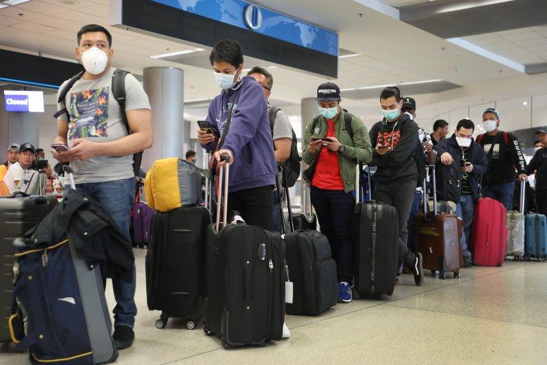 Passengers at Dulles International Airport