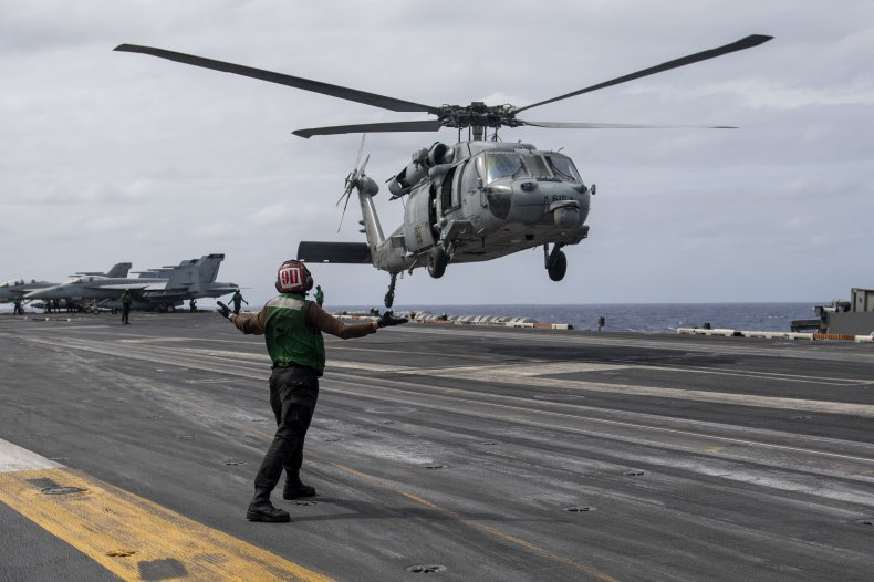 Helicopter of US 7th Fleet pictured