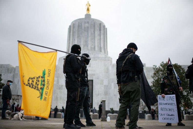 Boogaloo Boys at Salem capitol in Oregon