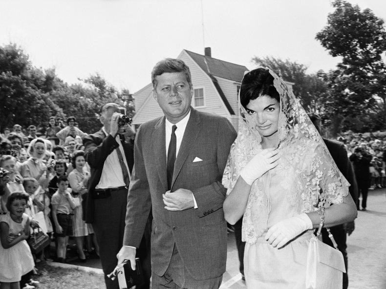 President and Mrs. Kennedy Attending Mass