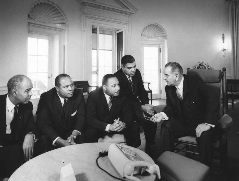 Johnson with Civil Rights Leaders