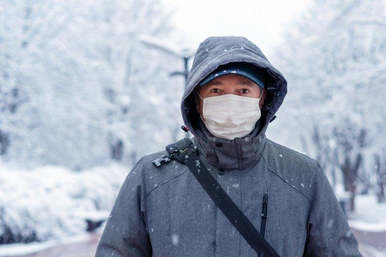 Man in mask in snow