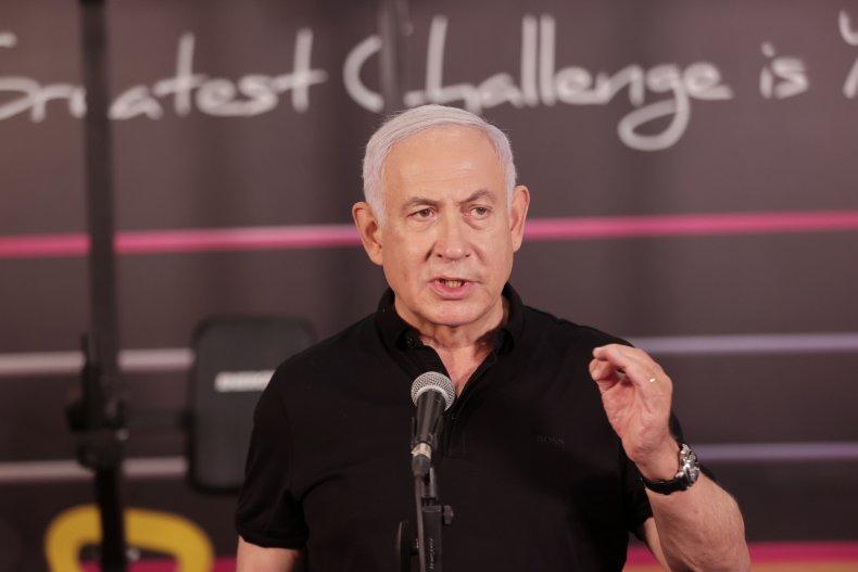Benjamin Netanyahu speaks at a gym Israel