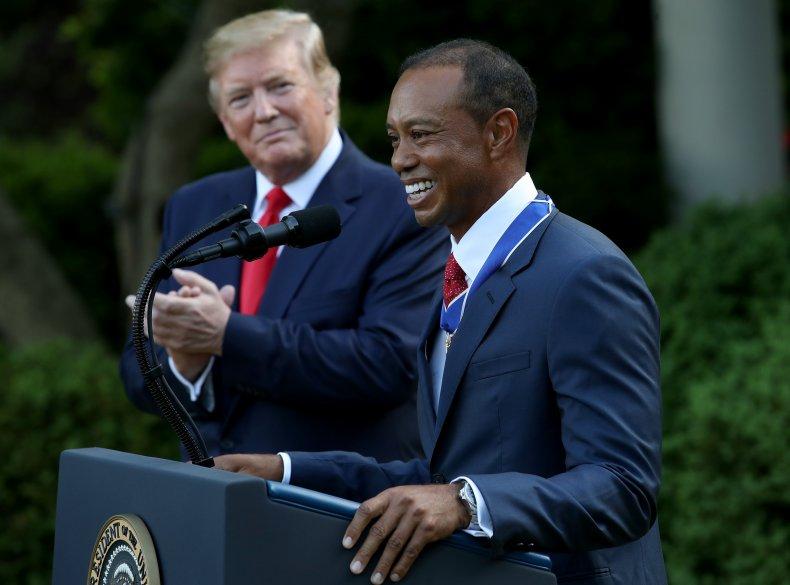 Donald Trump Tiger Woods golf crash comeback