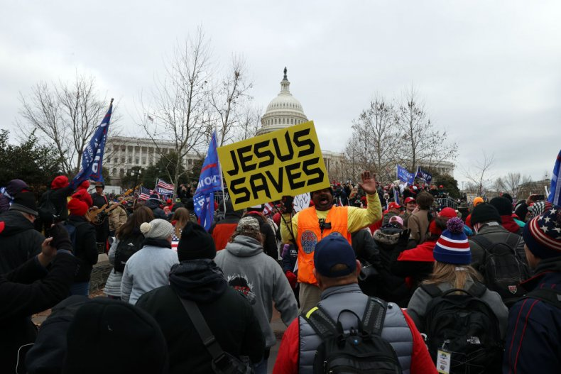 Jesus Save sign at Capitol riot