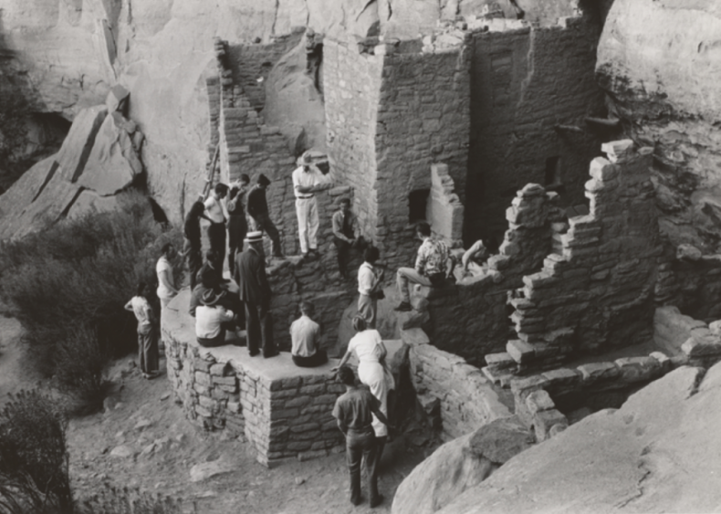 Tourists at cliff dwellings