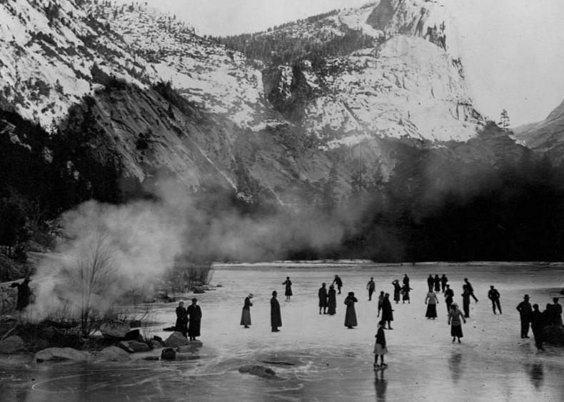 Ice skaters at Yosemite National Park