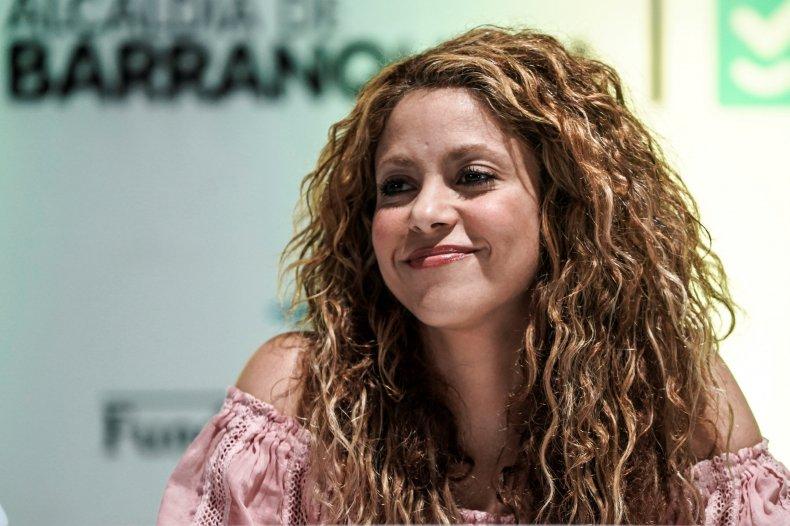 Colombian singer Shakira smiles