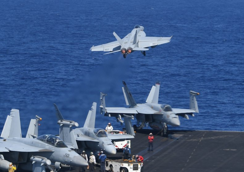 US jets on aircraft carrier in SCS