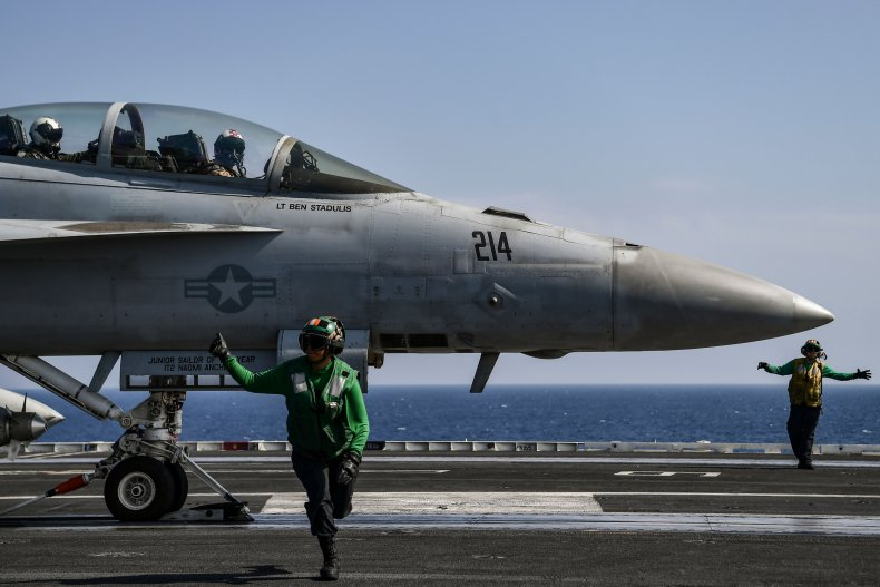 F-18 prepares to take off in Mediterranean