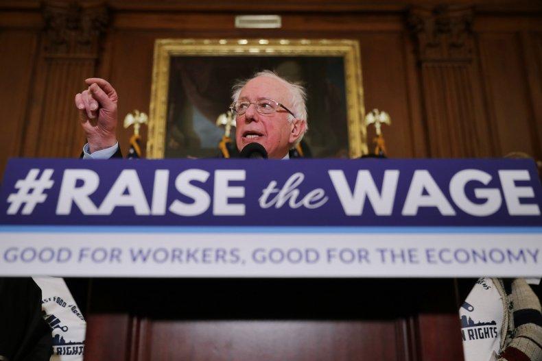 Bernie Sanders raise the wage presser 2019