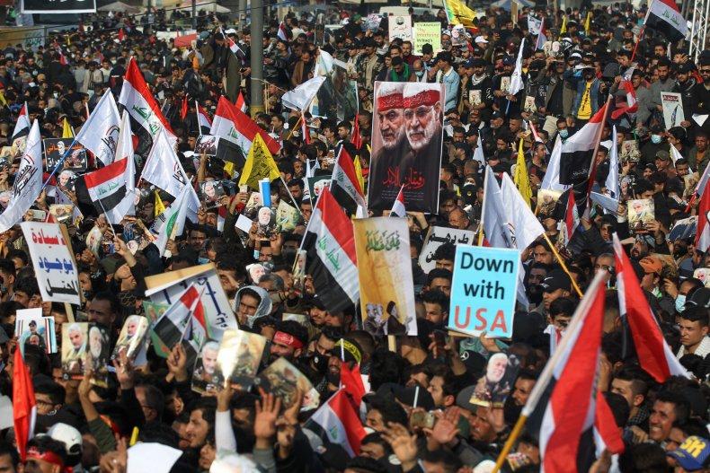 iraq, protest, soleimani, muhandis, anniversary