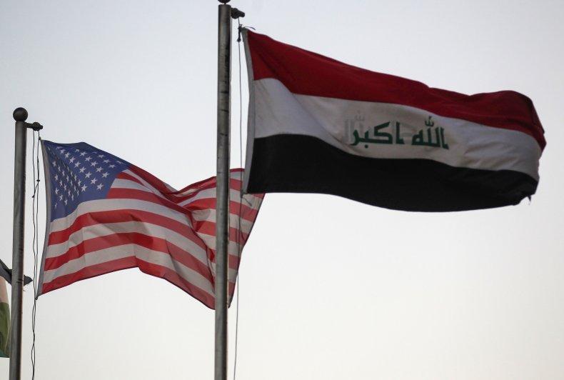 us, iraq, flags, baghdad